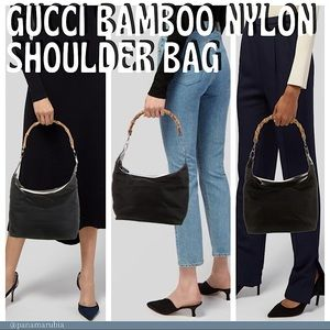 Gucci Bamboo Nylon Patent Leather Shoulder Bag